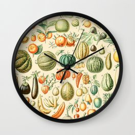 Autumn Harvest // Fruits by Adolphe Millot XL 19th Century Pumpkins Science Textbook Artwork Wall Clock