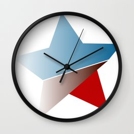 Ombre red white and blue star Wall Clock