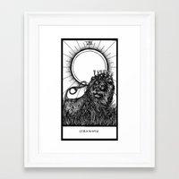 tarot Framed Art Prints featuring Strength Tarot by Corinne Elyse