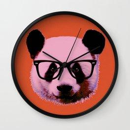 Panda with Nerd Glasses in Orange Wall Clock