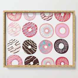 Vector pattern with sweet pink donuts design Serving Tray