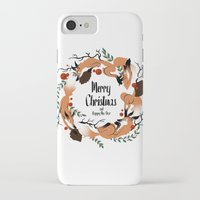 merry christmas iPhone & iPod Cases featuring Merry Christmas by Anya Volk