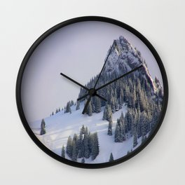 Mid Century Modern Round Circle Photo Winter Pine Trees Ski Mountain Peak Wall Clock