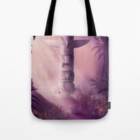 totem Tote Bags featuring Totem by Ramona Treffers