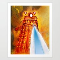 dalek Art Prints featuring Dalek by Tony DaBronzo