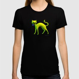 The Yellow Cat And Glass Blue Cherry T-shirt