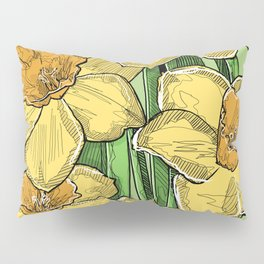 Yellow Daffodils line drawing Pillow Sham