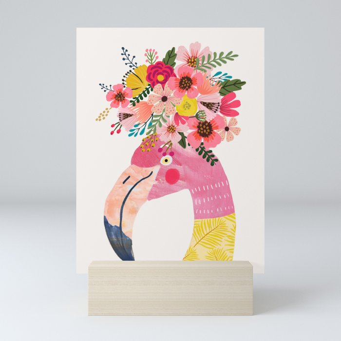 Pink flamingo with flowers on head Mini Art Print