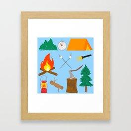 Let's Explore The Great Outdoors - Light Blue Framed Art Print