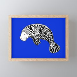 Blue Manatee Framed Mini Art Print
