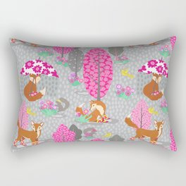 Foxes in Galoshes - Pink and Gray Rectangular Pillow