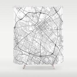 Lexington Map, USA - Black and White Shower Curtain
