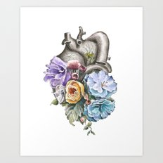 Blue Floral Heart Art Print