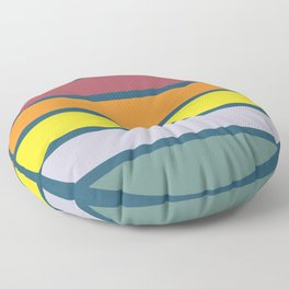 Classic Abstract Retro Striped Summer Sunset Circle - Emigiku Floor Pillow