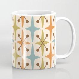 Mid Century Modern Abstract Star Pattern 441 Orange Brown Blue Olive Green Coffee Mug