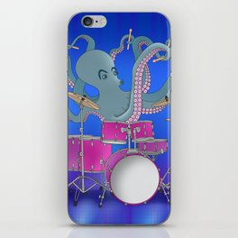 Octopus Playing Drums - Blue iPhone Skin