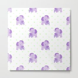 Elephants - Purple with Green Hearts Metal Print
