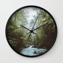 Peaceful Forest, Green Trees and Creek, Relaxing Water Sounds Wall Clock