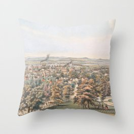 Vintage Pictorial Map of Springfield MA (1851) Throw Pillow