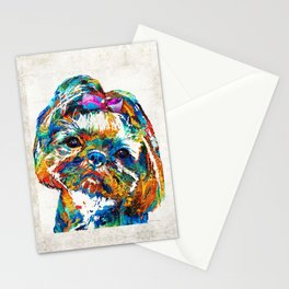 Colorful Shih Tzu Dog Art By Sharon Cummings Stationery Cards
