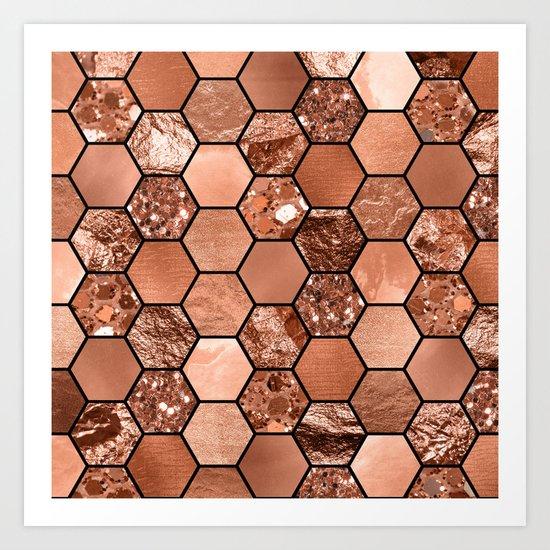 Rose gold hexaglam Art Print