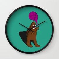 bigfoot Wall Clocks featuring Sandy Bigfoot by Chelsea Herrick