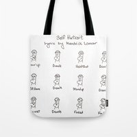 kendrick lamar Tote Bags featuring Self Portrait (Kendrick Lamar Version) by Clifford Allen