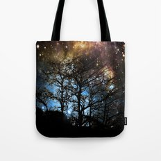 Black Trees Dark Colorful Space Tote Bag