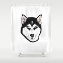 Husky different eyes Shower Curtain