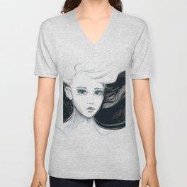 Girl Artwork | Black & White Unisex V-Neck