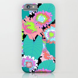 Amazon Rainforest Floral in Black + Neon iPhone Case