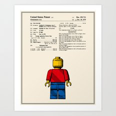 Lego Man Patent - Colour (v1) Art Print