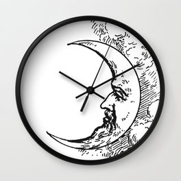 Man On The Moon Crescent Moon Black on White Wall Clock
