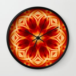 Fire Lotus Mandala Wall Clock