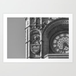 Detail of Baby Big Ben Cardiff Bay Wales Clocktower in Black and White Art Print