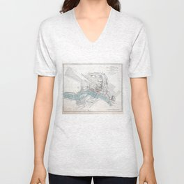 Vintage Map of Richmond Virginia (1864) Unisex V-Neck