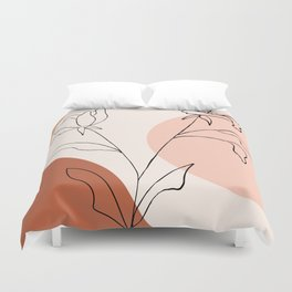 Poppies line drawing Duvet Cover