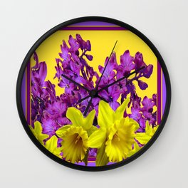 Sunny Yellow Daffodile Lilac  Purple Floral Art Wall Clock