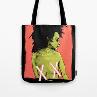 the xx Tote Bags featuring XX by Chris Jalufka