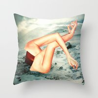 camp Throw Pillows featuring Camp by Erin Case
