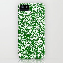 Small Spots - White and Dark Green iPhone Case