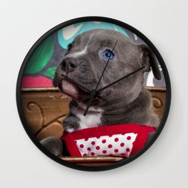 Sweet Blue-Eyed Pitbull Puppy Girl in a Red and White Polka Dot Dress Wall Clock