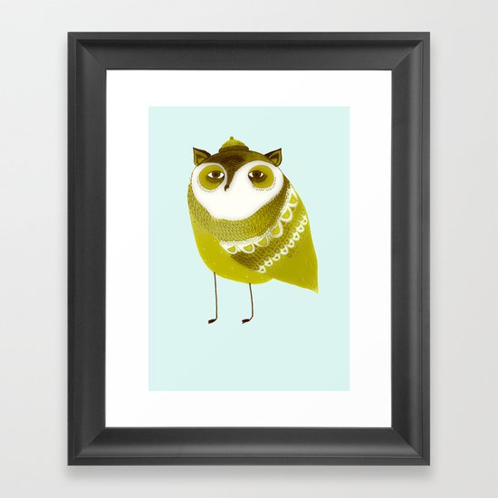 Golden Owl illustration  Framed Art Print