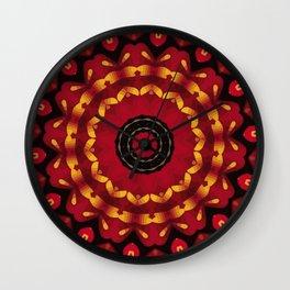 Gold On Red Mandala Wall Clock