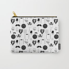 Black-white funny men's retro vector seamless set Carry-All Pouch