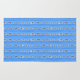 Tiny Trailer Rows in Blue Rug