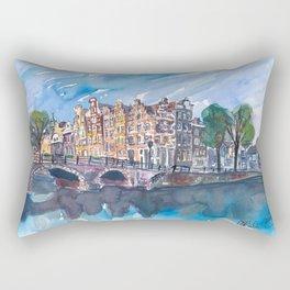 Amsterdam Netherlands Canal Sunset On Prinsengracht Rectangular Pillow