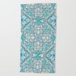Gypsy Floral in Teal & Blue Beach Towel