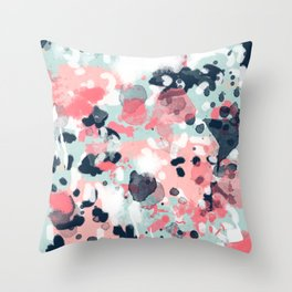 Jilly - modern abstract gender neutral canvas art print large scale abstract painting Throw Pillow