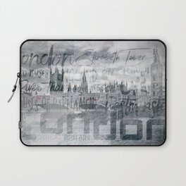 Urban-Art LONDON Houses of Parliament and Red Buses I Laptop Sleeve